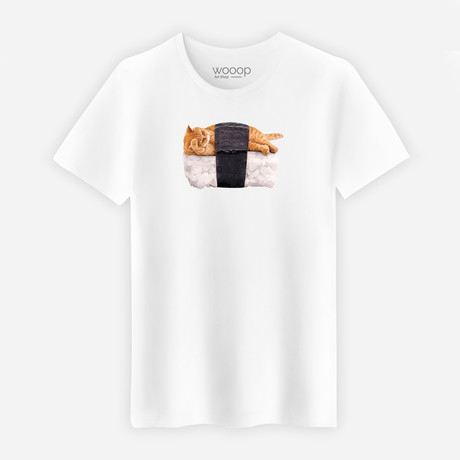 Sushi Cat T-Shirt // White (Small)