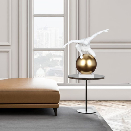 Equilibrium + Control // Matte White + Gold Sculpture
