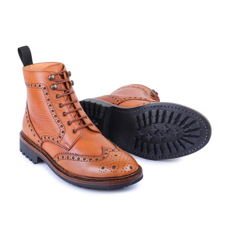 Goodyear Welted Wingtip Brogue Lace Up Boots // Tan (US: 8)
