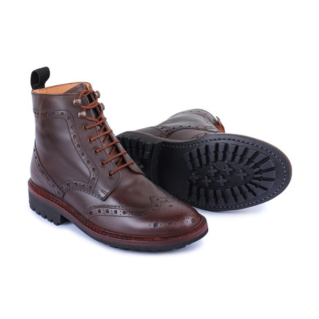 Goodyear Welted Wingtip Brogue lace Up Boots // Brown (US: 8)
