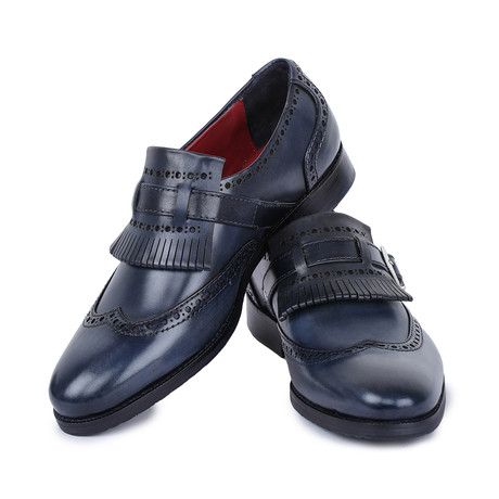 Wingtip Brogue Kiltie Loafers // Navy (US: 8)