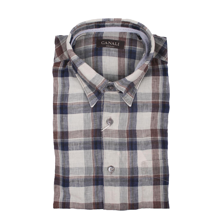 5189923c4e0 Regular Fit Check Dress Shirt    Beige + Multicolor (XS) - Canali ...