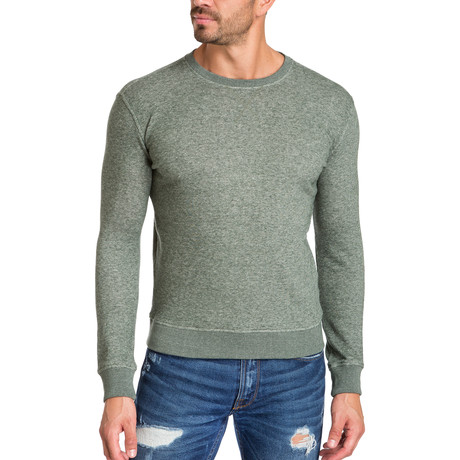 Crew Neck Sweater + Camouflage Elbow Patch // Green (S)