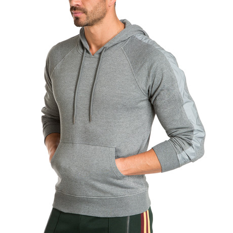 Hoodie + Reflective Side Stripe // Gray (S)