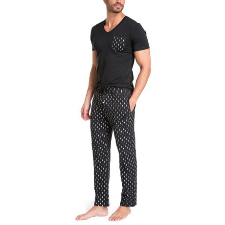 Lightening Bolts Pajama Set // Black + White (S)
