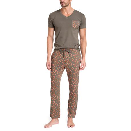 Birds Pajama Set // Taupe + Orange (S)