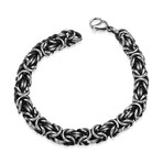 Stainless Steel Roman Classic Byzantine Bracelet // Silver