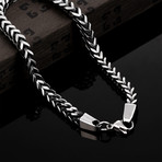 Stainless Steel Cobra Snake Wheat Chain Link Bracelet // Silver