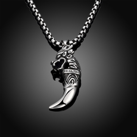 Stainless Steel Saber Tooth Pendant Necklace