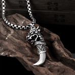 Stainless Steel Saber Tooth Pendant Necklace // Silver