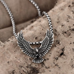 Stainless Steel Mystic Flying Hawk Pendant Necklace
