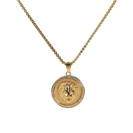 Lion Disc Pendant Necklace