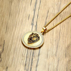 Bold Lion Disc Pendant Necklace