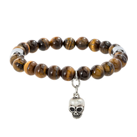 Willowbird // Beaded Skull Charm Stretch Bracelet // Brown + White