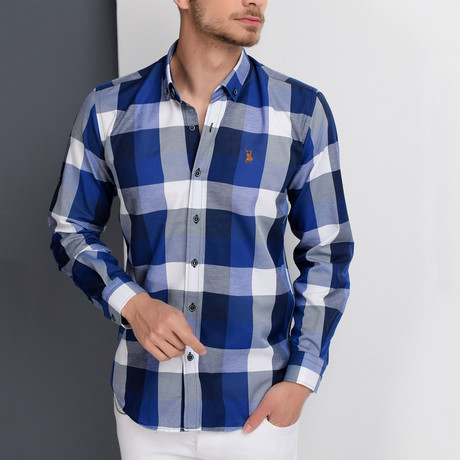 G662 Plaid Button-Up Shirt // Dark Blue + Blue (S)