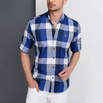 Joshua Plaid Button-Up Shirt // Dark Blue + Blue (2X-Large)