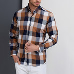 G662 Plaid Button-Up Shirt // Dark Blue + Brown (S)