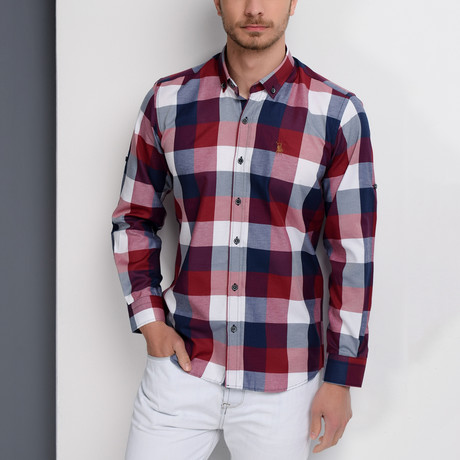 G662 Plaid Button-Up Shirt // Dark Blue + Burgundy (S)