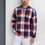 Joshua Plaid Button-Up Shirt // Dark Blue + Burgundy (Small)