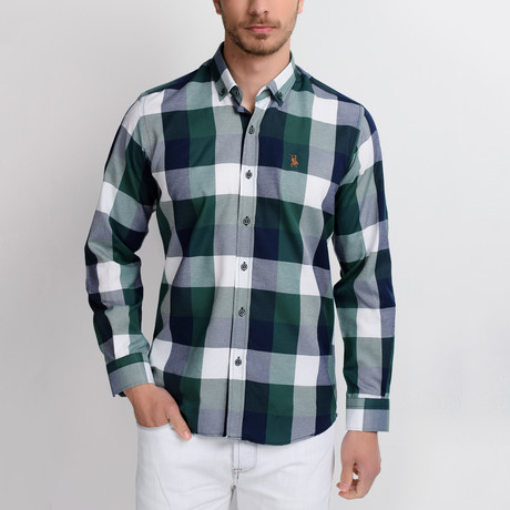 G662 Plaid Button-Up Shirt // Dark Blue + Green (M)