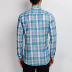 G663 Plaid Button-Up Shirt // Blue (L)
