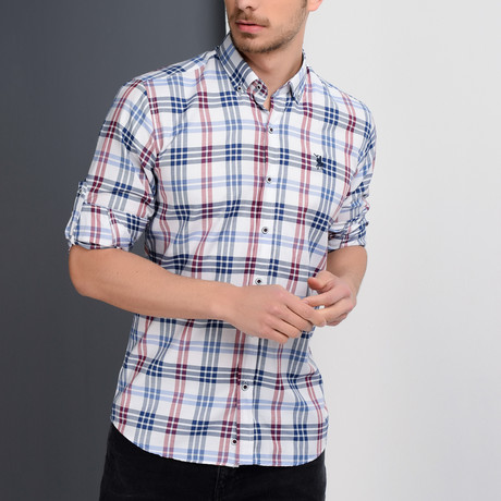 G663 Plaid Button-Up Shirt // Dark Blue + White + Red (XL)