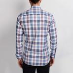 G663 Plaid Button-Up Shirt // Dark Blue + White + Red (XL)