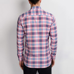 G663 Plaid Button-Up Shirt // Pink (L)