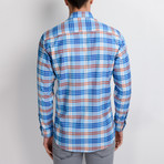 G663 Plaid Button-Up Shirt // Light Turquoise + Red (M)