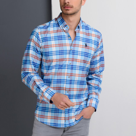 G663 Plaid Button-Up Shirt // Light Turquoise + Red (S)