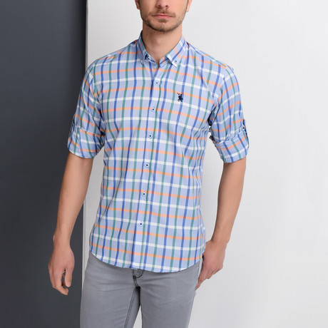 G664 Grid Button-Up Shirt // Blue + Green (S)