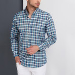 G664 Grid Button-Up Shirt // Dark Blue + Gray (3XL)