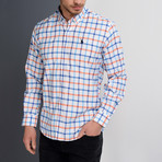 Cody Grid Button-Up Shirt // White + Indigo + Orange (Small)