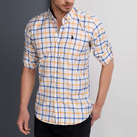 G664 Grid Button-Up Shirt // White + Yellow + Blue (S)