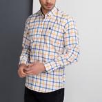 G664 Grid Button-Up Shirt // White + Yellow + Blue (2XL)