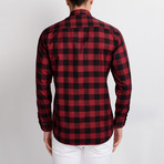 Antonio Checkered Button-Up Shirt // Black + Burgundy (Large)