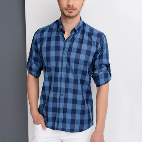 Jonah Button-Up Shirt // Dark Blue + Blue (Medium)