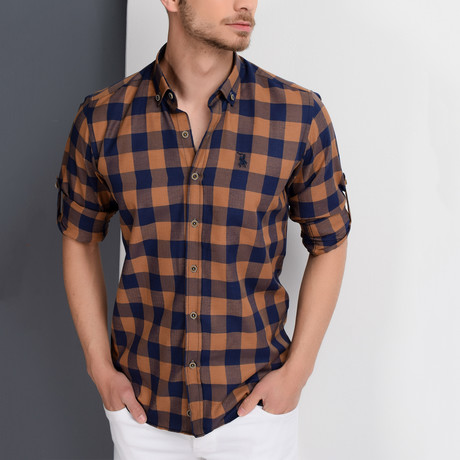 Antonio Checkered Button-Up Shirt // Dark Blue + Brown (XX-Large)