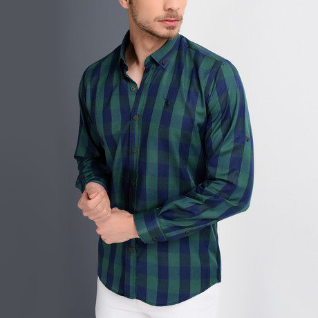 G665 Checkered Button-Up Shirt // Dark Blue + Green (S)