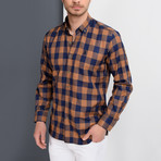 Antonio Checkered Button-Up Shirt // Dark Blue + Brown (Small)