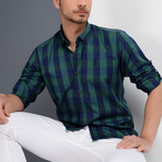 Antonio Checkered Button-Up Shirt // Dark Blue + Green (Medium)