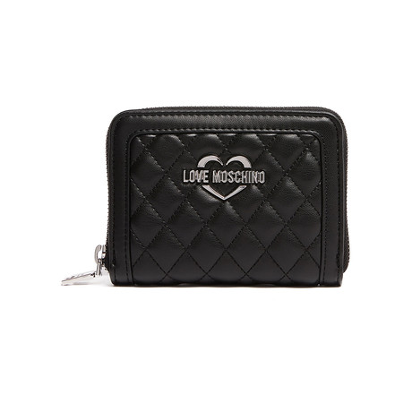 Quilted Zippered Wallet // Black