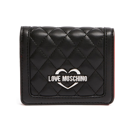 Quilted Button Wallet // Black + Silver