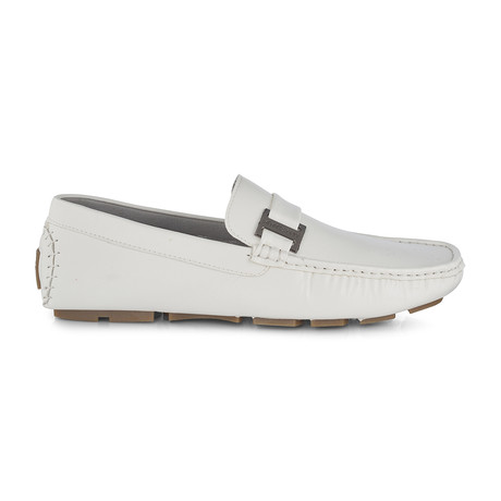 Slip-On Driving Moccasins + Side Buckle // White (US: 8)