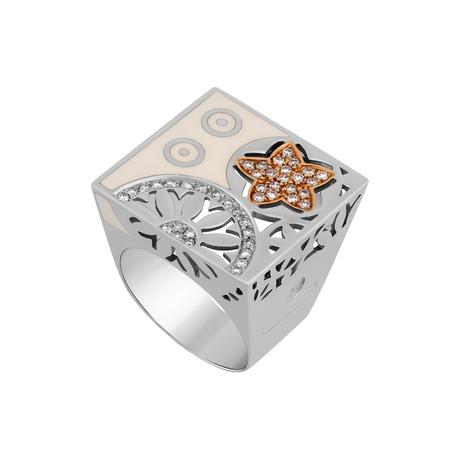 Nouvelle Bague India Preziosa 18k Two-Tone Gold Diamond + White Enamel Ring // Ring Size: 9