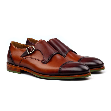 Miguel Single Monk Strap // Cognac + Wine (Euro: 40)