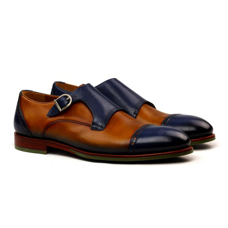 Fernando Single Monk Strap // Cognac + Blue (Euro: 40)