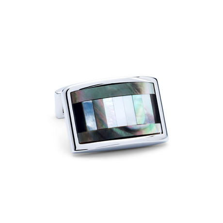 Mother of Pearl Banded Rectangle Cufflinks // Silver + Multicolor