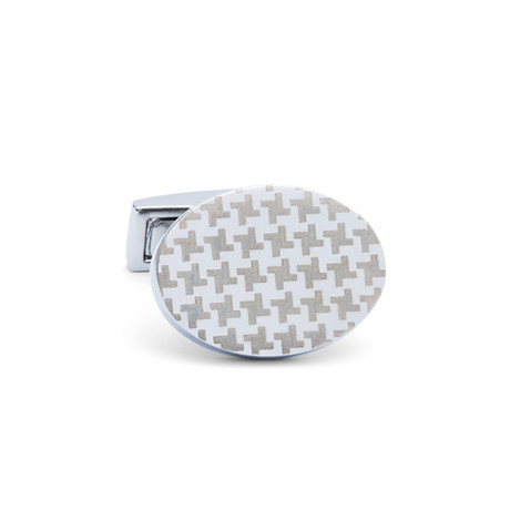 Oval Houndstooth Pattern Cufflinks // Silver