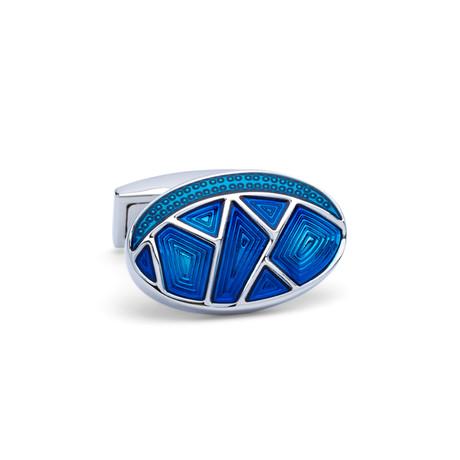Oval Colored Glass Retro Cufflinks // Silver + Blue